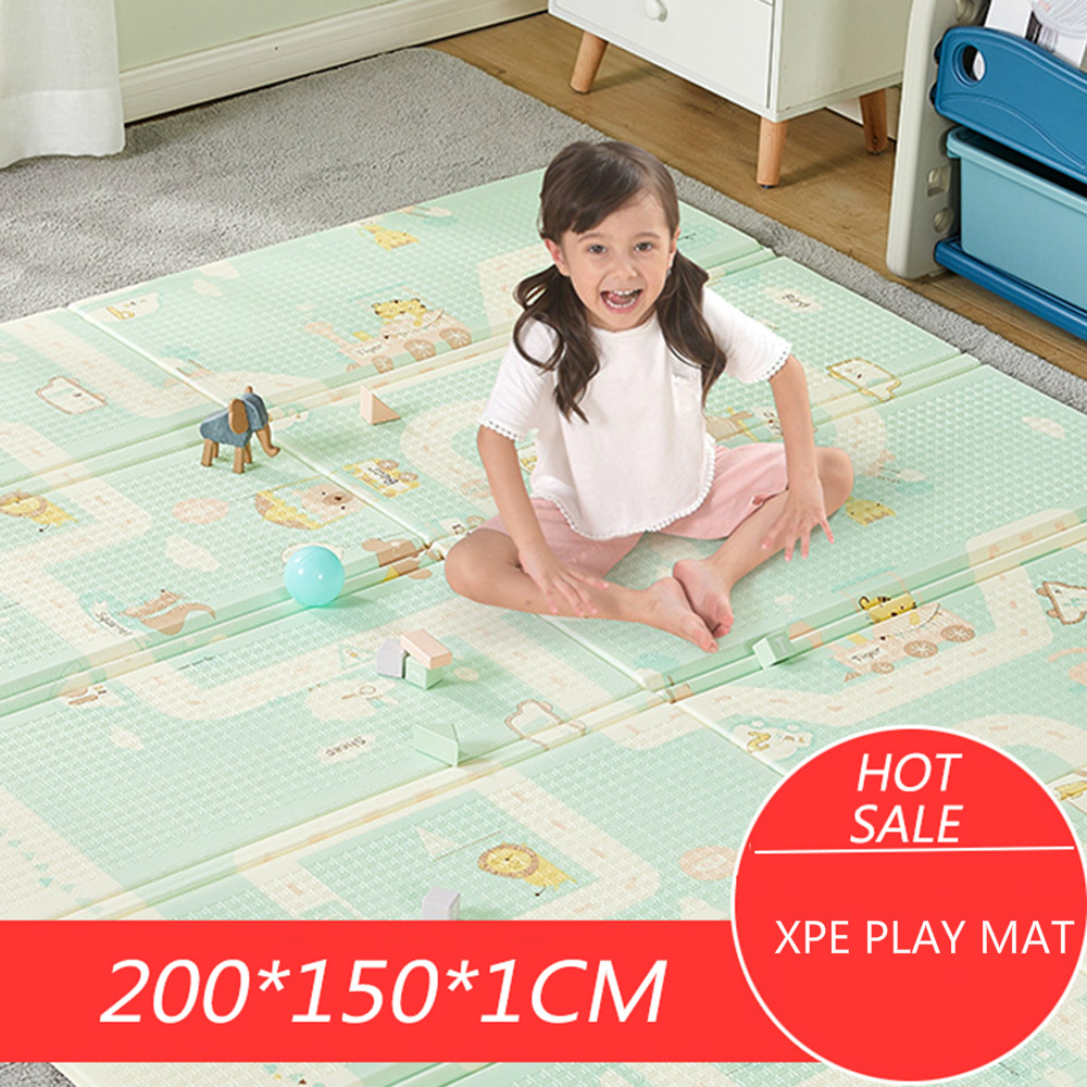 Baby Mat 200X150CMX1CM Thickness Cartoon XPE Kid Play Mat Foldable Anti-skid Carpet Children Game Mat
