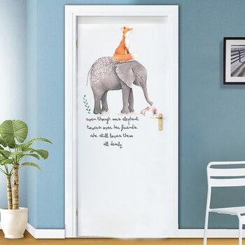 Adhesivo de pared con diseño de caricatura de zorro y elefante para habitación de niños, sala de estar, Puerta del dormitorio, entrada, hogar, decoración, calcomanía, autoadhesiva, pintura para pared