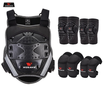 wosawe motorcross back protector skating snow body armour motorcycle spine guard moto jacket kneepads elbow guard moto armor WOSAWE Children's Motorcycle Armor Body Moto Jacket Off-road Riding Vest Body Protector Gear Motorcross KneePads Elbow Protector