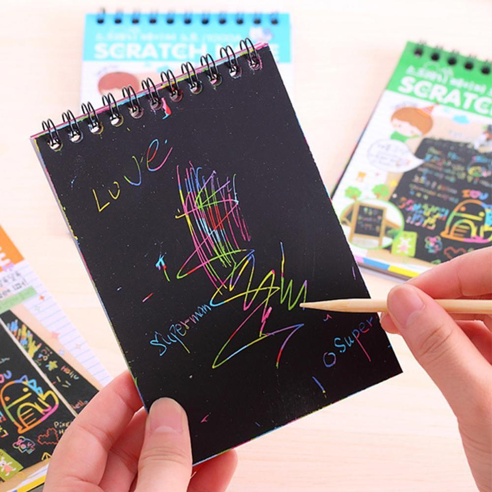 New Colorful Paper DIY Children Educational Games Fun Doodling Scratch Children Graffiti Colorful Black Wooden Stick Kids Crafts