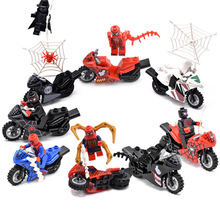 цены 8pcs/lot Spider Man Figure Motorcycle Venom Scanes Spiderman Marvel Super Hero Model Building Blocks Bricks Toys For Children