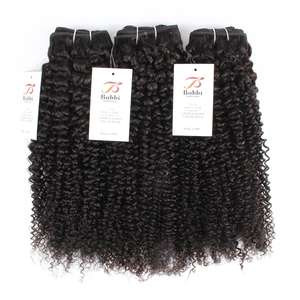 Image 4 - BOBBI COLLECTION Afro Kinky Curly 2/3 Bundles With 4*4 Lace Closure Indian Remy Human Hair Weave Bundles Extensions