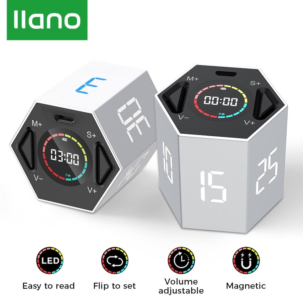 LLANO – minuterie de cuisine numérique magnétique, 60 minutes, horloge pour douche, étude, cuisine, compte à rebours électronique