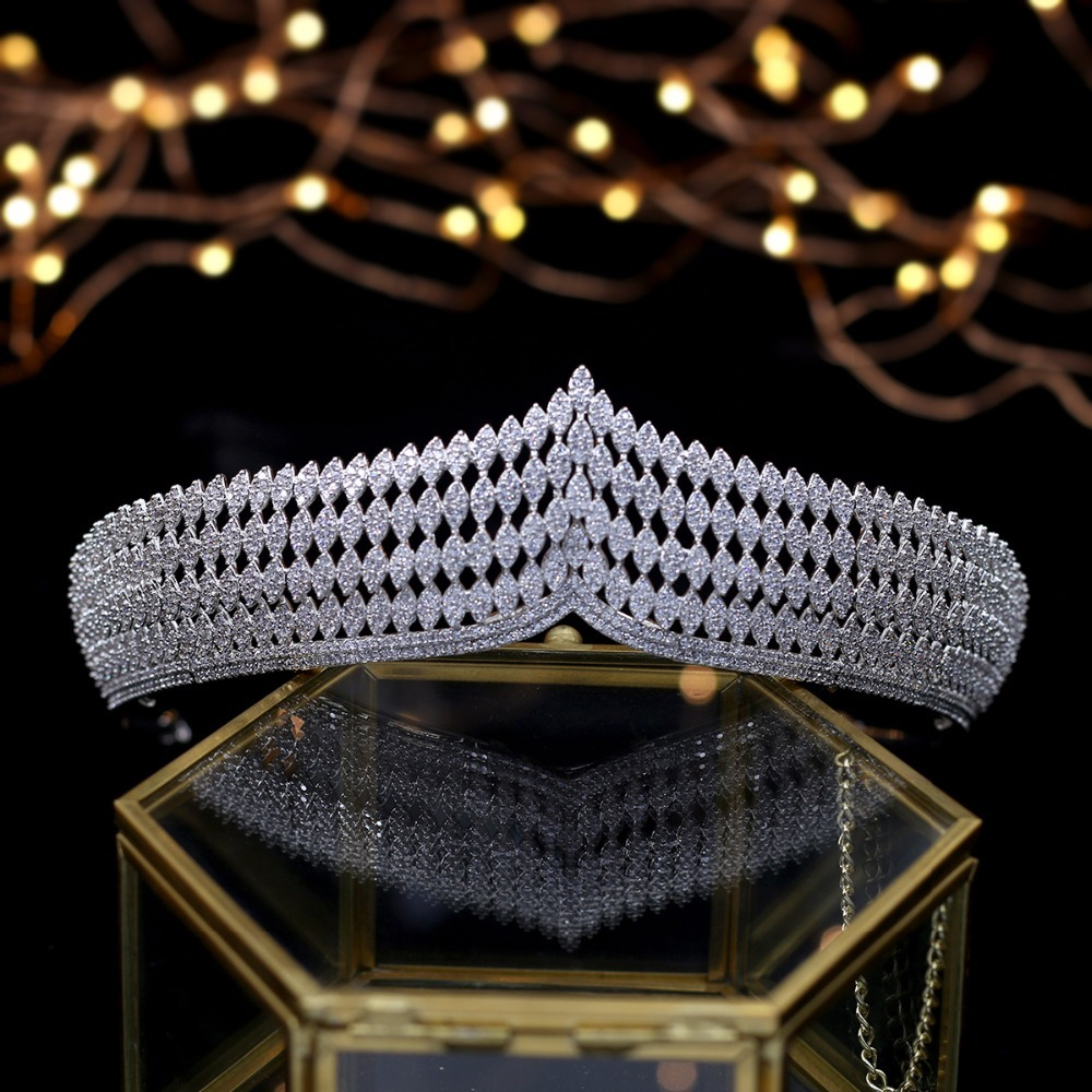 Hibride роскошь повязка благородный AAA кубический циркон короны и диадемы для невесты блестящие аксессуары для волос для свадьбы, ювелирные из... - 5