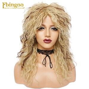 Image 3 - Ebingoo Peluca de pelo sintético para mujer, postizo de estilo Disco Hallween Rocker de 70s y 80s, Largo rizado, rizado dorado, Rubio, marrón, para fiesta de juegos de rol