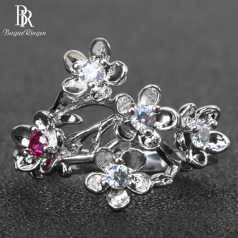 Bague Ringen Silver 925 Ring for Women Hollow Fine Jewelry with Gemstones Plum Blossom Female Individual Character Rings Party