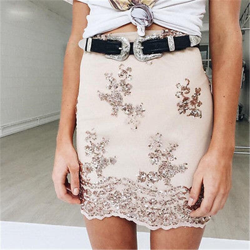 New Hot Fashion Women Lady Vintage Boho Metal Leather Belts Double Buckle Waist Belt Waistband For High Quality Belts female 3
