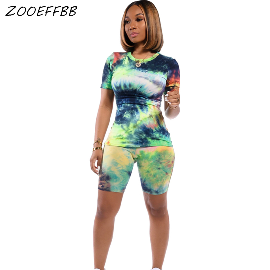 ZOOEFFBB Plus Size Tie Dye Print Two Piece Set Tracksuit Women Clothes Top Biker Shorts Sweat Suits Summer Outfits Matching Sets