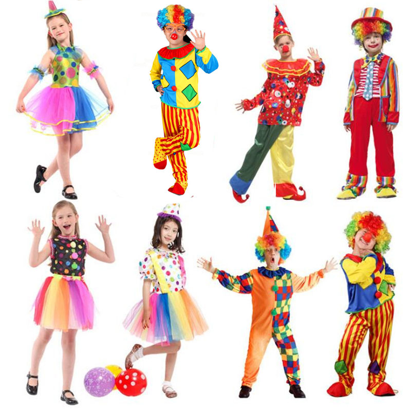 New Clown Costume Children Boy Girl Joker Costume Cosplay Party Dress Up Clown Suit Halloween Costume Kids Christmas Holiday