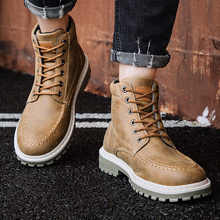 Popular Men Boots Genuine Leather Winter Waterproof Ankle Riding Outdoor Working Snow Shoes