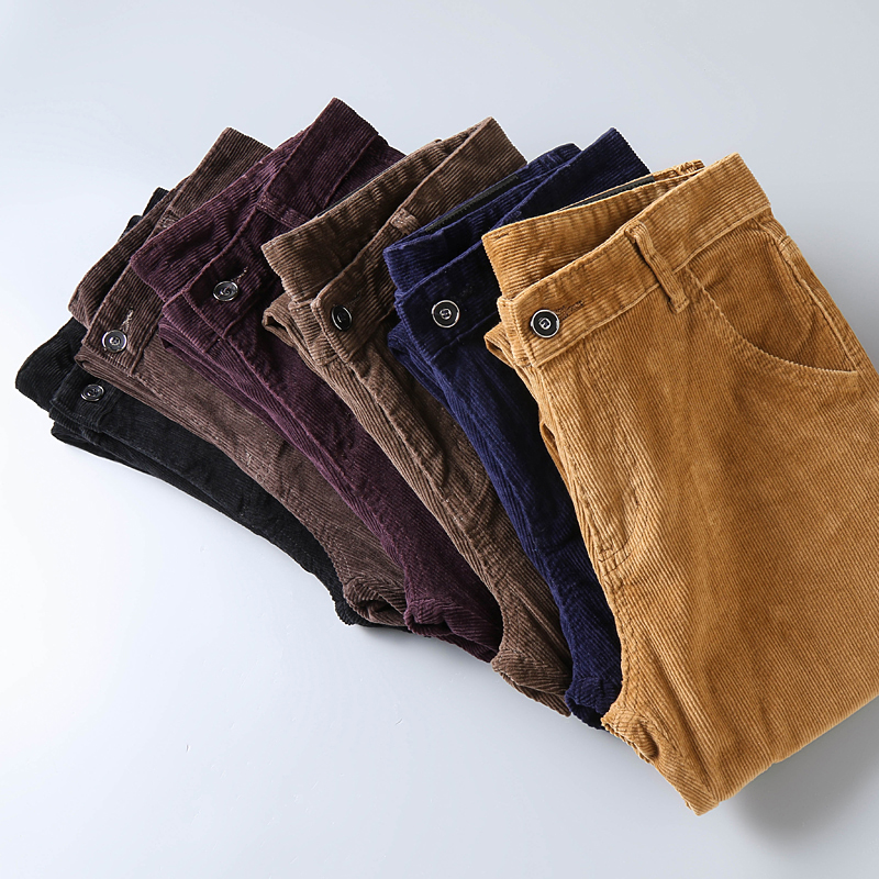 6 Color Men's Thick Corduroy Casual Pants 2019 Winter New Style Business Fashion Stretch Regular Fit Trousers Male Brand Clothes