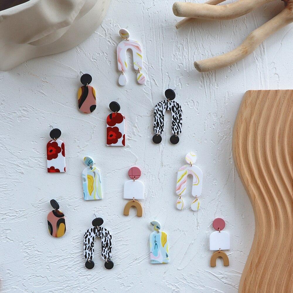 AOMU 1Pair Korea Fashion Colorful Printing Geometric Irregular Acrylic Long Dangle Earrings for Women Jewelry