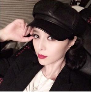 Image 2 - Prawdziwej skóry Beret kapelusz zima wiosna kapelusze dla kobiet malarz czapka gazeciarza Vintage Beret kobieta czarny Boinas styl angielski kapelusz