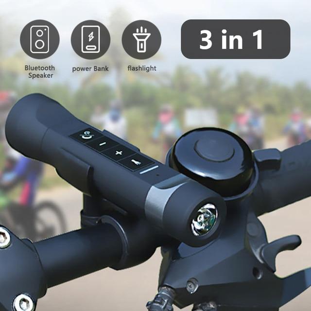 3 in 1 Wireless Bluetooth Speaker Mini Speaker Power Bank 2000mAh Outdoor Sport Bicycle FM Radio LED Bike Light Lamp For Mount