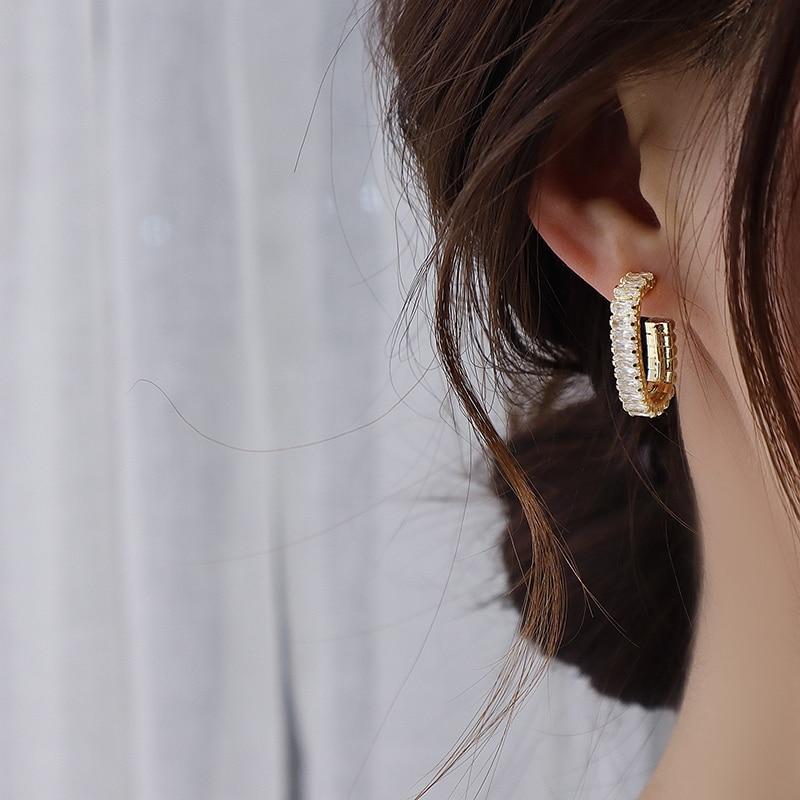 Boucles d'oreilles rondes en Zircon coréen 14k pour femmes, bijoux de tempérament 2