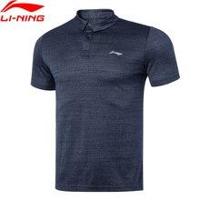 Мужская Тренировочная футболка-поло Li-Ning из 100% полиэстера, дышащая Спортивная футболка стандартного кроя с подкладкой, топы li ning APLQ187