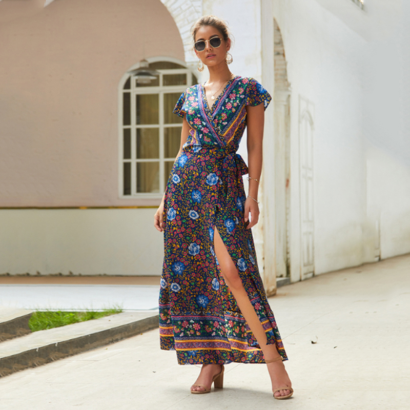 Female <font><b>Short</b></font> Sleeve <font><b>Floral</b></font> <font><b>Print</b></font> <font><b>Beach</b></font> <font><b>Dress</b></font> <font><b>Sexy</b></font> <font><b>V</b></font> Neck Maxi <font><b>Dress</b></font> Summer <font><b>Boho</b></font> <font><b>Dresses</b></font> Lady Belt Bandage Split <font><b>Dress</b></font> image