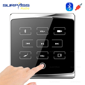 Smart Hotel room Home audio bluetooth Player in-wall stereo digital amplifier 86 touch key Background Music Controller USB TF FM цена 2017