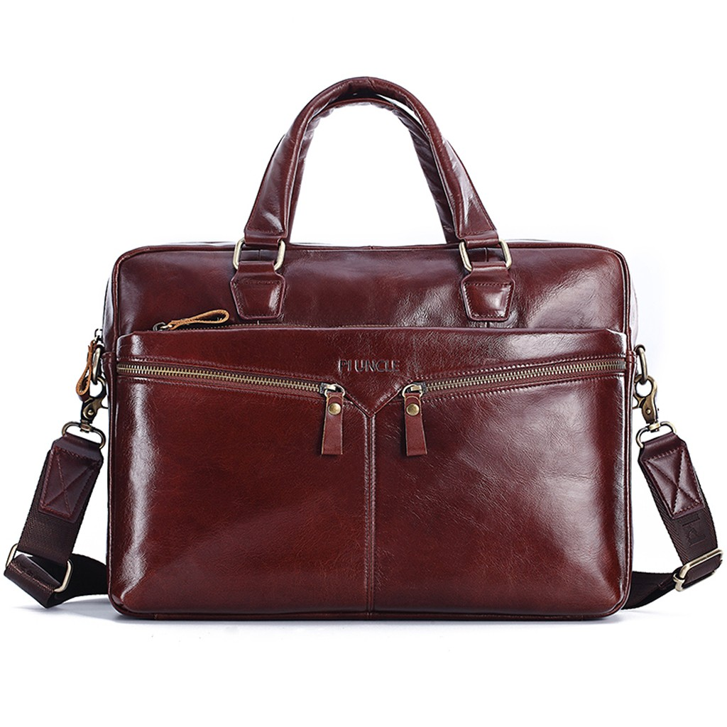 Cowhide Leather Briefcase Mens Leather Handbags Crossbody Bags Men's High Quality Luxury Business Messenger Bags Laptop