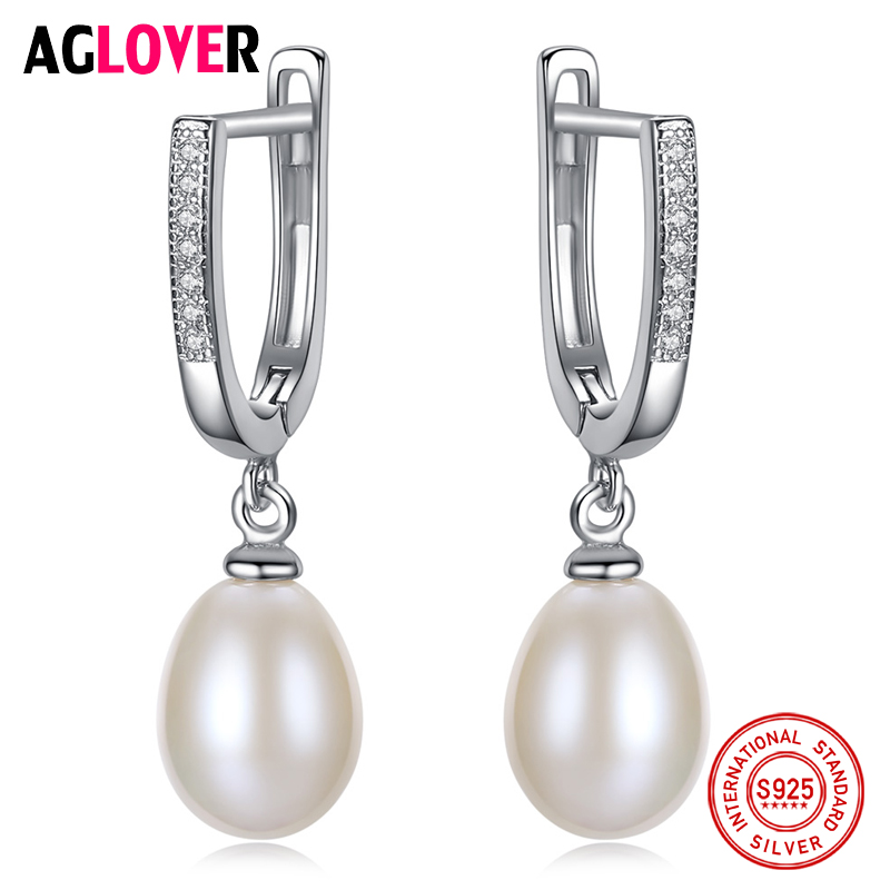 AGLOVER Genuine 925 Silver Hinged Back Earrings Natural Freshwater Pearl Earrings Jewelry Women Wedding/Party Lady Gift Hot Sale