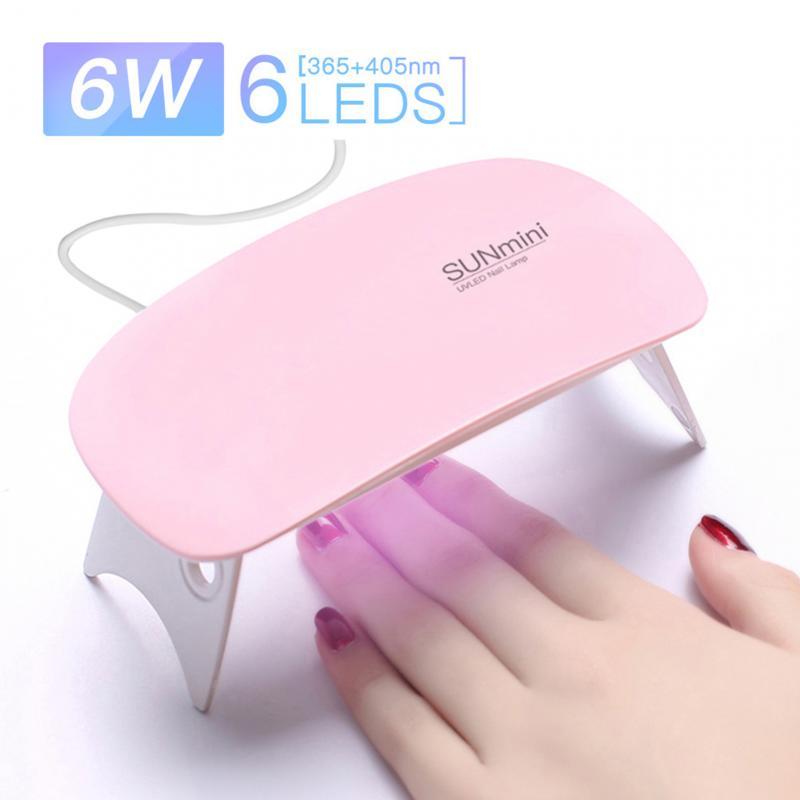 6 Вт мини-лампы для ногтей розового и белого цвета маникюрная Сушилка для ногтей УФ светодиодная лампа Портативный USB кабель домашний Примен...