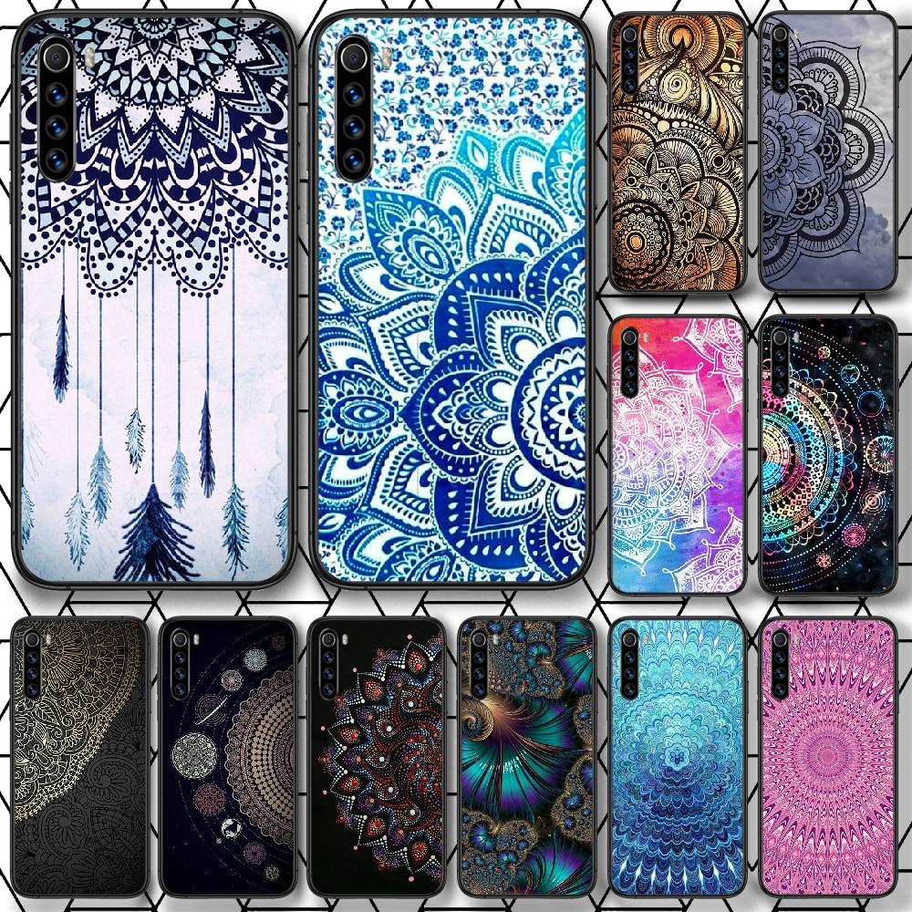 Mandala Flower Totem Art Phone Case For Xiaomi Redmi Note 7 8 8T 9 9S 4X 7 7A 9A K30 Pro Ultra black Shell 3D Bumper Fashion