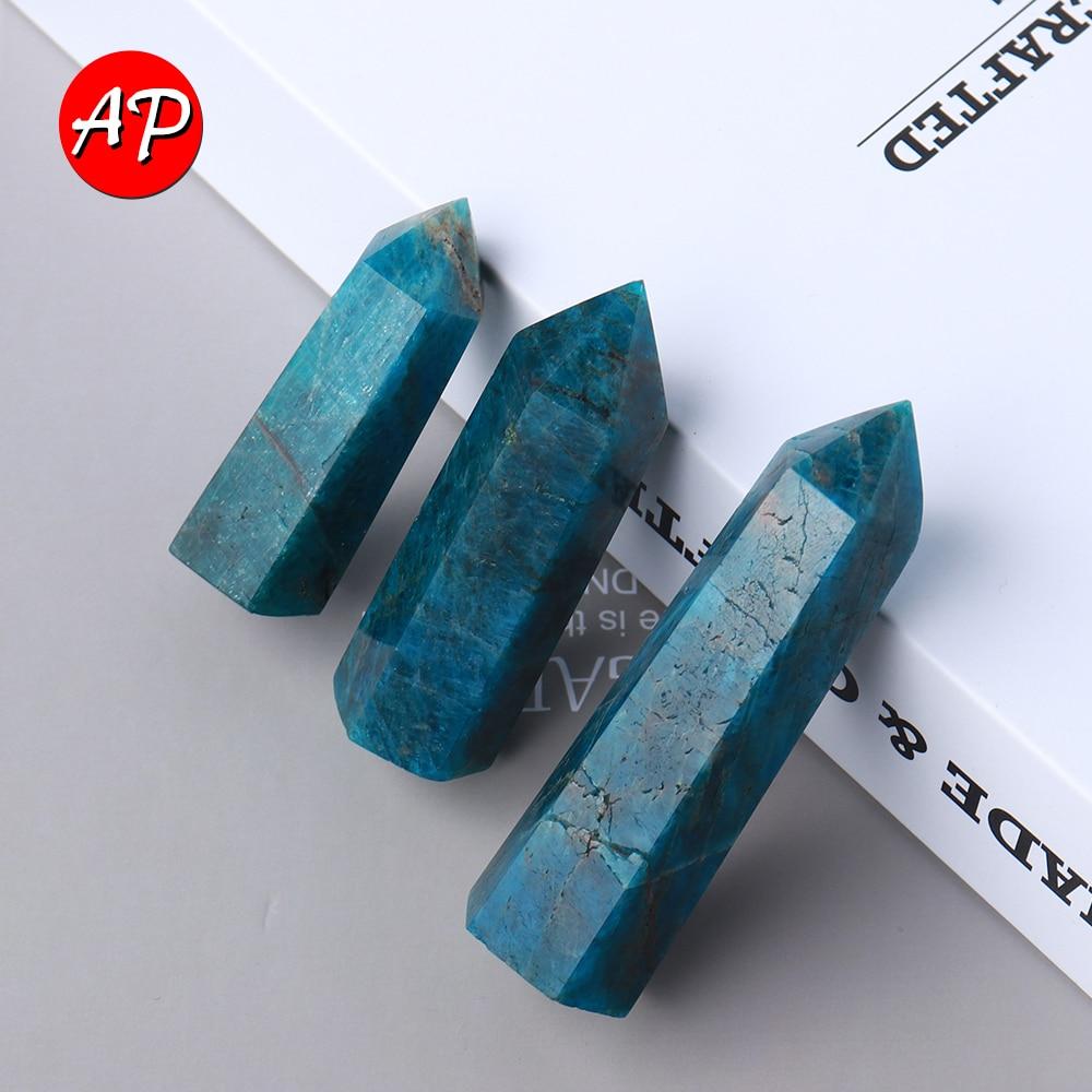 5-8 см Натуральная кварцевая палочка, синяя апатит, кристальная башня, шахтная энергия, драгоценный камень, шестигранный, домашний декор