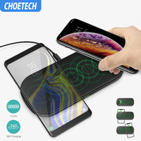 CHOETECH 10W Qi Dual Wireless Charger 5 Coils Fast Charging Pad Compatible for iPhone X XS Max for Samsung S8 S9 S10 New AirPods
