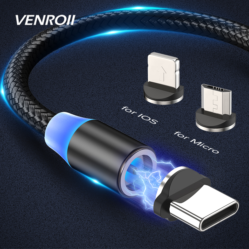 Venroii Magnetic Cable Micro USB Fast Charging USB C Type C Cable for Samsung S8 S9 S10 Xiaomi Redmi Note 8 Magnet Charger Cable(China)