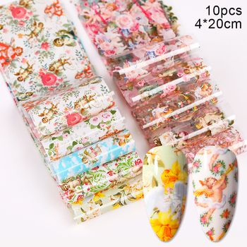 10 Pcs Rose Flowers Nail Foils Tropical Leaves Colorful Nail Decals Transfer Decorations Sets for Manicuring DIY Sticker Slide 9