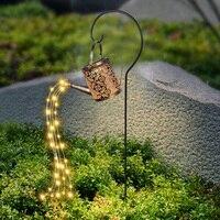 Regadera alimentada por energía Solar, luz de hadas para exteriores, lámpara de ornamento Solar para césped y jardín, luz LED de ducha de hierro hueca