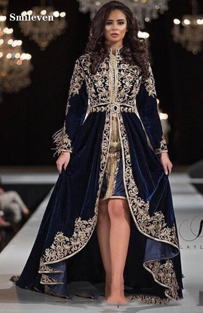 Smileven Caftan karakou algerien Formal Evening Dresses Long Sleeve High Low Velvet Gold Lace Peplum Occasion Evening Gown