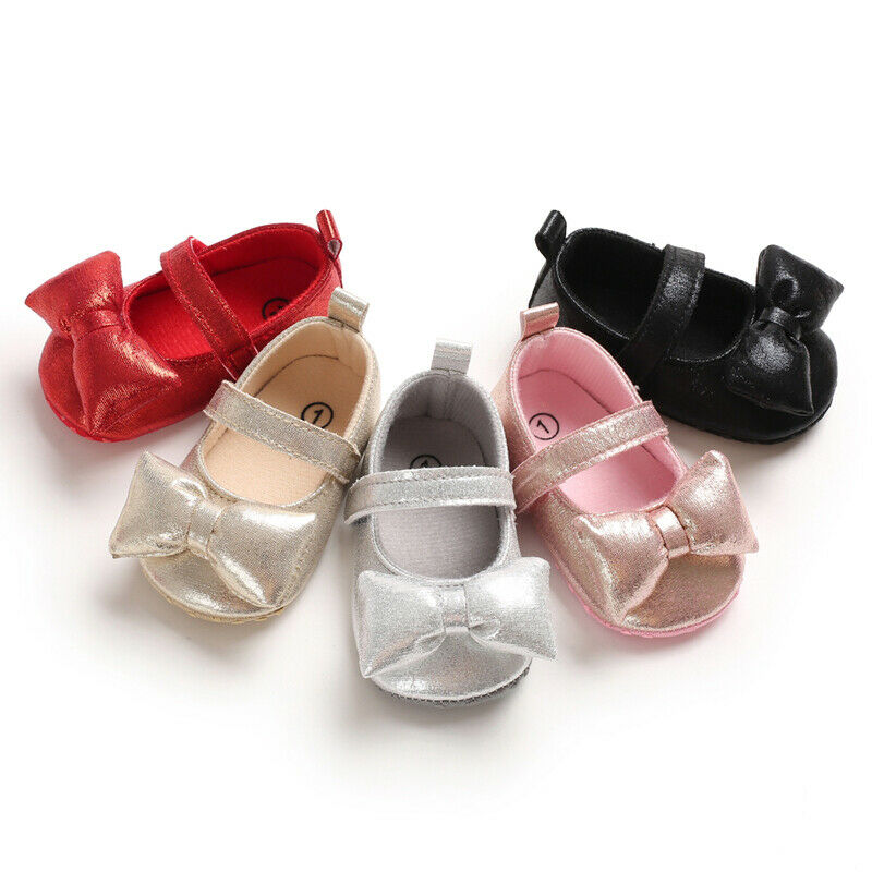 Infant Baby Girl Princess Soft Crib Shoes Leather BowKnot Shoes Moccasins Anti-slip Prewalkers