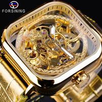 Forsining Fashion Luminous Hands Gold Leather Transparent Skeleton Mens Mechanical Automatic Watches Top Brand Luxury Male Clock
