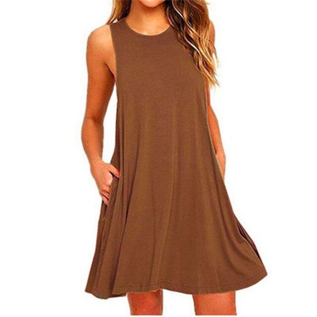 Summer Cotton Dress Women Sleeveless Beach Black Dress Casual  Pocket Loose Dress Female Plus Size Dress Fashion Clothing 4