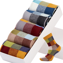5 Pairs/Lot Combed Cotton Men's Socks Compression Fashion Colorful Square Happy Dress Men Size 39-45 Checked socks