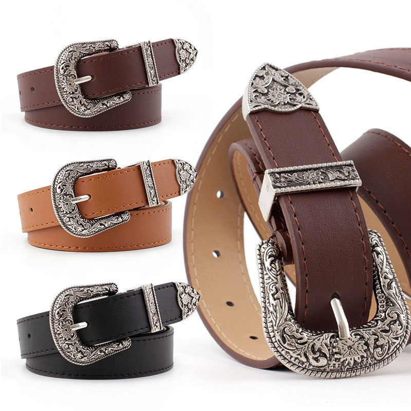 Women's Vintage Carved Pin Buckle PU Leather Belt Casual Fashion Wild Belt Jeans Dress Waistband P78