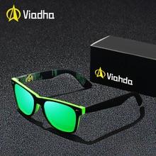 VIAHDA New Rivet Polarized Sunglasses Men Sun Glasses Brand Classic Polaroid Lens Vintage Shades Oculos Male