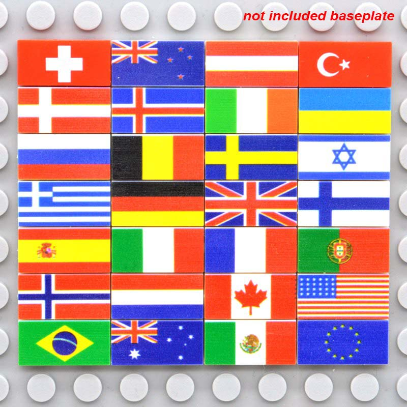 28 Mix Custom Printed Building Blocks Tiles National Flags 1x2 Studs Bricks 28 Countries Russia France Italy Spain MOC Toys