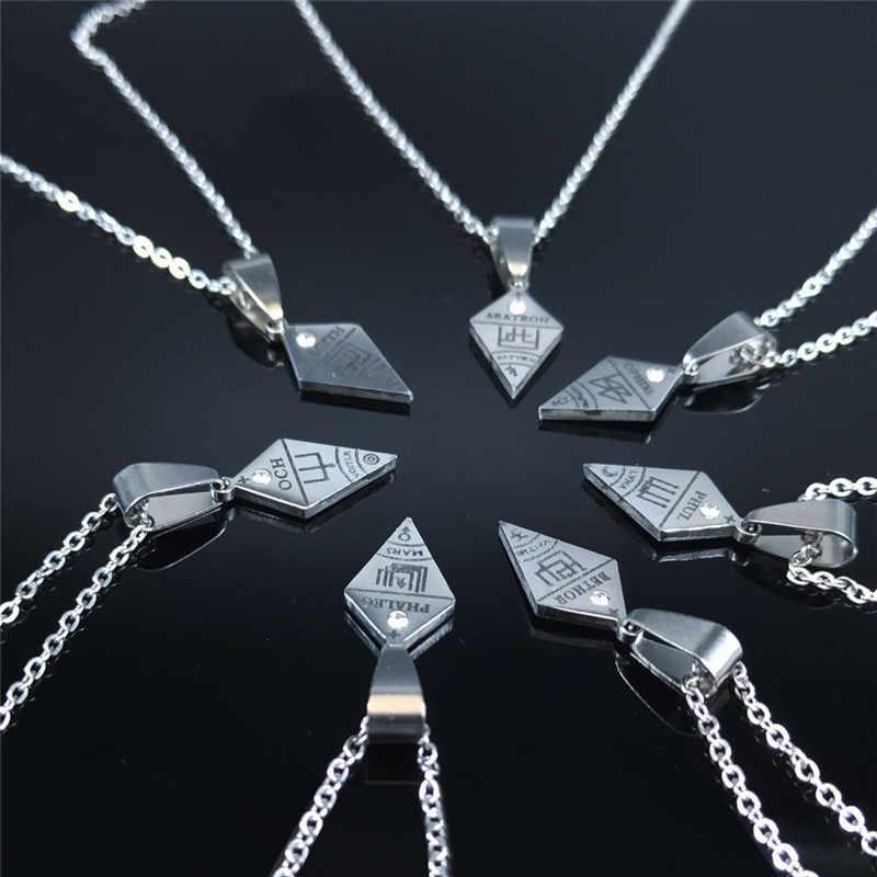 7 sztuk Clavicula Nox naszyjnik ze stali nierdzewnej ukryta biżuteria satanistyczna Goetia symbol koszula łatka cadenas mujer N1052S02