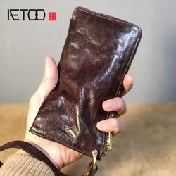 Cartera de hombre de cuero suave AETOO, cartera informal retro de cuero hecha a mano, billetera para hombre con pliegues antiguos