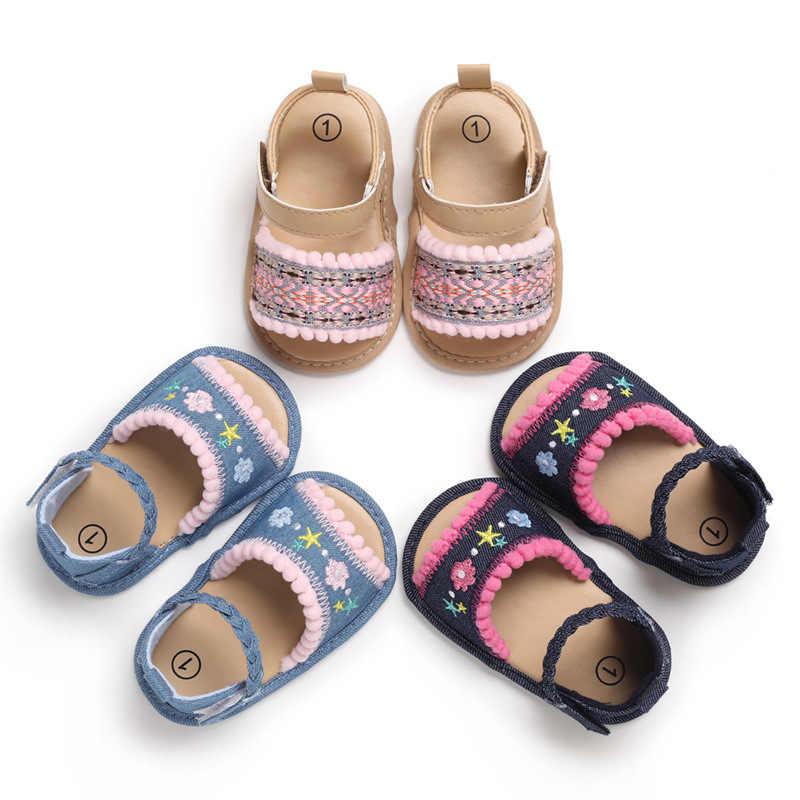 Baby Kids Girl Soft Sole Shoes Floral Anti-slip Sandals Prewalkers Hollow Shoe