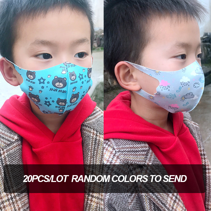 20Pcs/lot Random Kawaii Printed Washable Kids Mask Anti Dust Mask Breathable Ice Silk Cloth Fashion Face Mask For Children