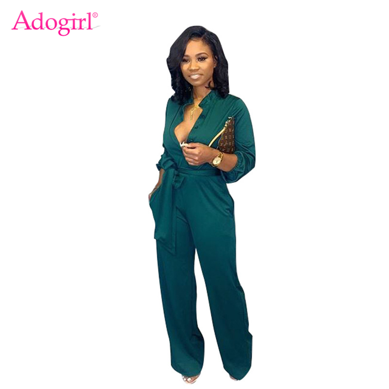 Adogirl Solid Women Casual Loose Jumpsuit Buttons V Neck Long Sleeve Office Lady Romper Wide Leg Pants Female Fashion Overalls
