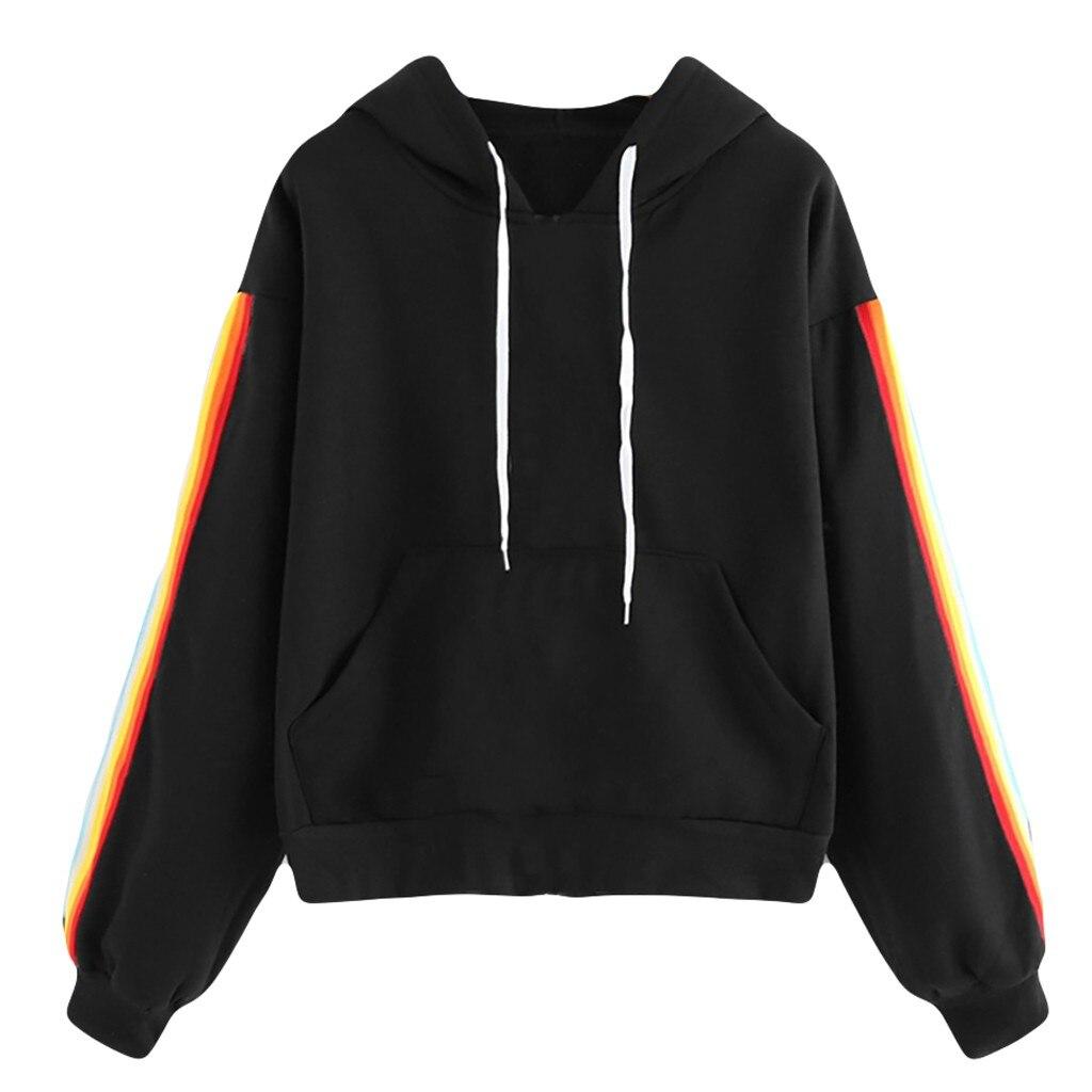 Women Stripe Print Jumper Hoodie Pocket Long Sleeve Sweatshirt Pullover Tops толстовка Hoodies худи Sweatshirt толстовка женская