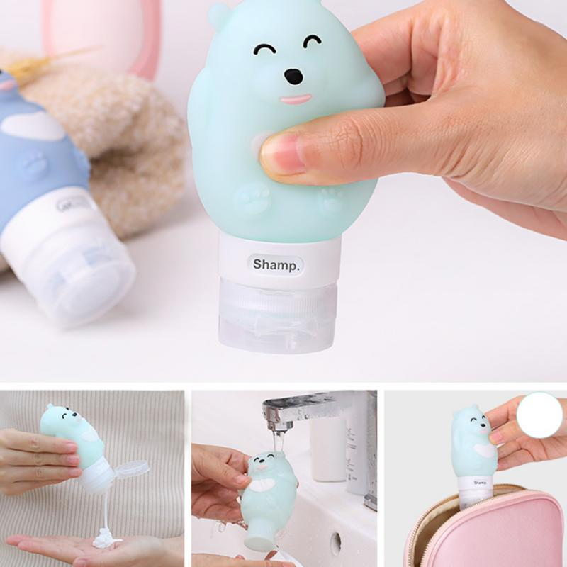 Cute Portable Cartoon Bear Penguin Animal Silicone Travel Case Organizer Shampoo Shower Gel Lotion Storage Refillable Bottle