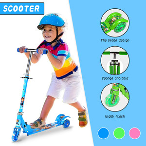 Foot Kick Scooter Foldable Freestyle Street Skate Cycle Hoverboard Skateboard Adjustable Aluminum Alloy 2 Wheel kid Gift