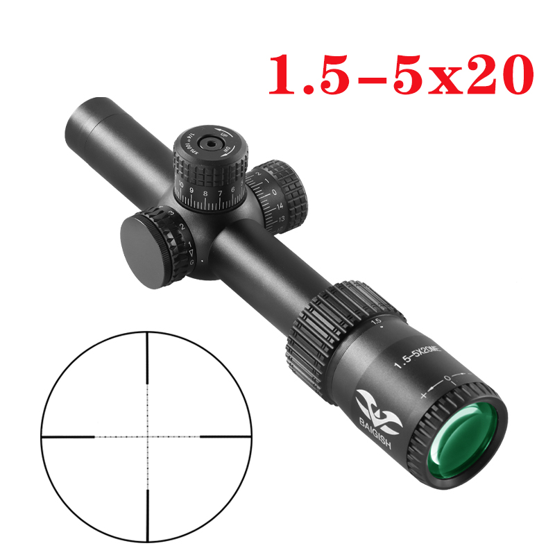 1.5-5x20 Rifle Scope With Red And Green Illuminated Optical Sniper Rifle Scope For Hunting Scopes Quick Aiming  Rifle Scope