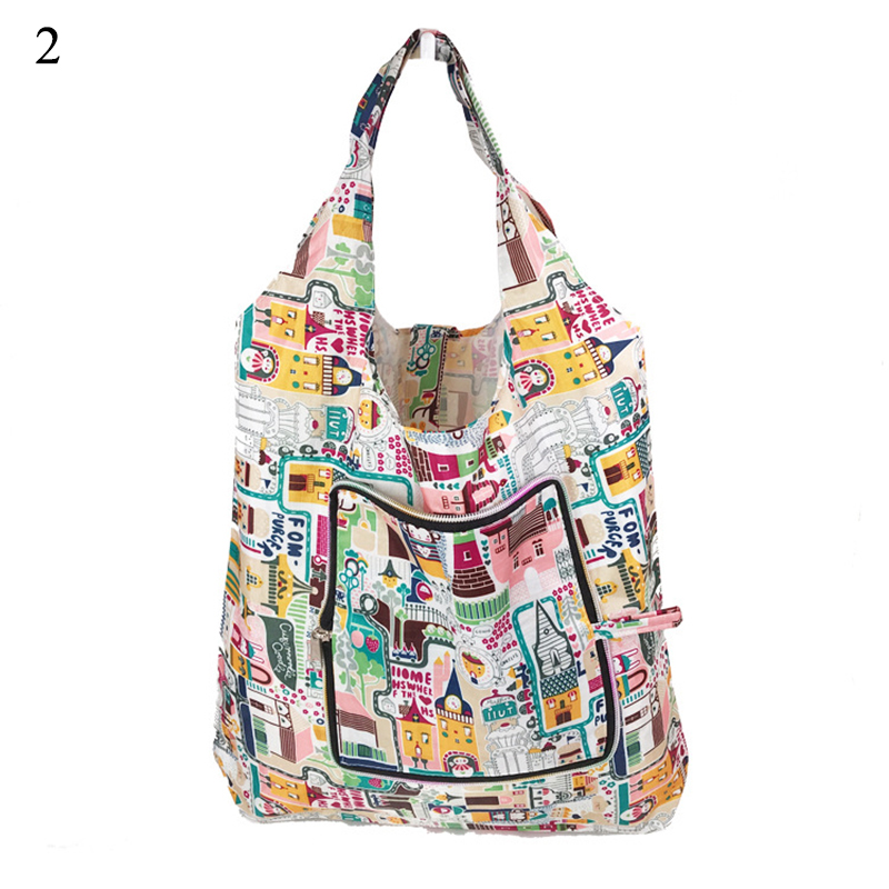 High Quality Foldable Shipping Travel Bags Handy Zipper Reusable Tote Pouch Recycle Storage Handbags Organizer Shopping Bags Hot