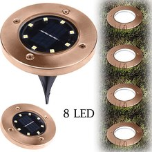 1/2/4 Pcs 8 LED Bronze Color Solar Power Buried Light Underground Lamp Outdoor Path Way Garden Decking